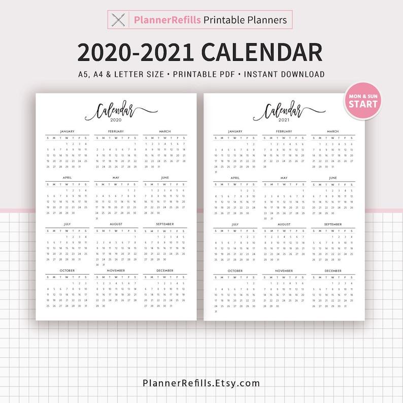 2020-2021 Calendar Printable Year at a Glance Printable | Etsy