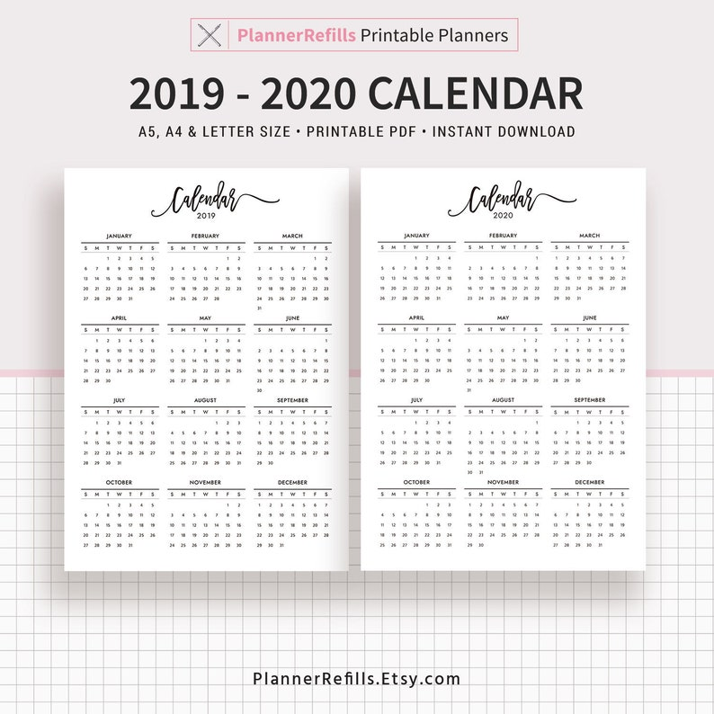 photograph about 30.07 Sign Printable titled 2019-2020 Calendar Printable, Planner Refills, Printable Planner, Filofax A5, A5, A4, Letter Dimension, Planner Inserts,Prompt Obtain