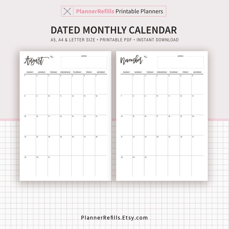 2020-2021 Dated Monthly Calendar Monthly Planner Printable ...