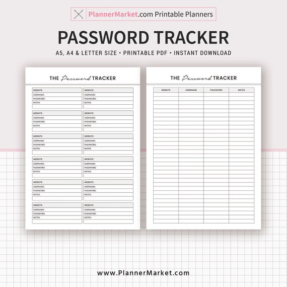 Password Tracker Printable Password Keeper Password Log A5 Etsy