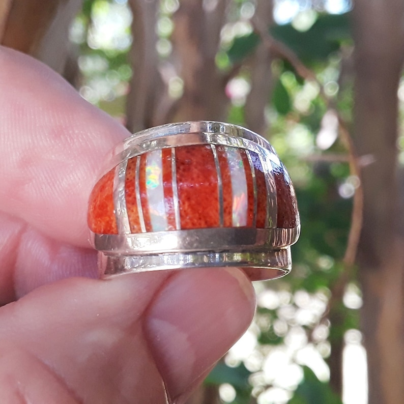 Navajo Sponge coral /& Fire Opal Inlay ring Sterling silver Wide Band