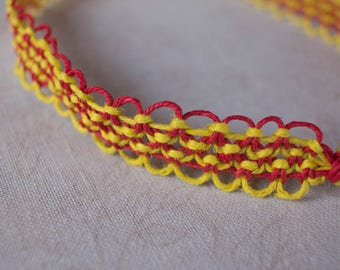 16.5 inch red and yellow hemp necklace