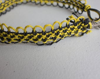 16 inch yellow and black hemp necklace