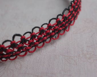 18.5 inch red and black hemp necklace