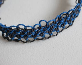 15.5 inch blue and black hemp necklace
