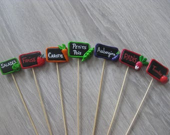Decorative pins for garden with small slate and its fruits or vegetables in fimo (sold individually or as a set)