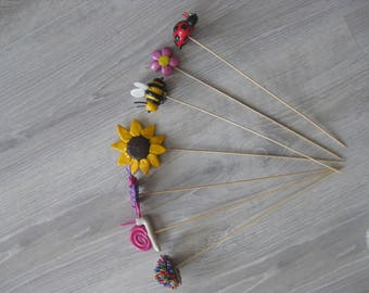 Decorative pins for the garden with flowers or small animal Fimo (sold individually or as a set)