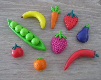 Magnets fruits and vegetables made of polymer clay to order