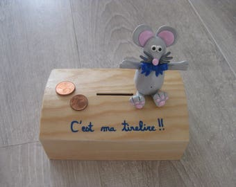 Small mouse fimo wooden money box