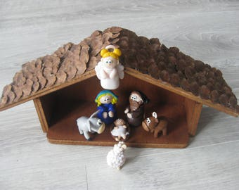 All handmade Nativity scene hand