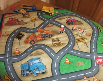Play mat, blanket, circuit for cars, printed roads and construction