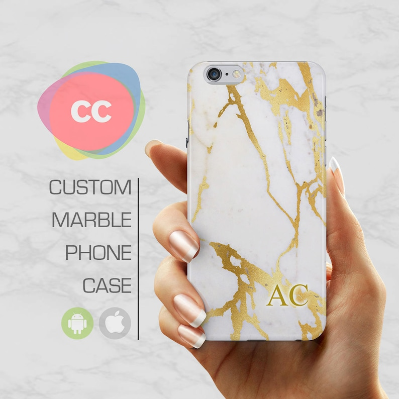 the best attitude 5e7f5 c17f9 Custom Gold Initial Marble Case / Initials iPhone 6 Case / iPhone 7 Case /  iPhone 6S, 5, 5S Case / Samsung Galaxy S8, S7, S10 Case - PC-214