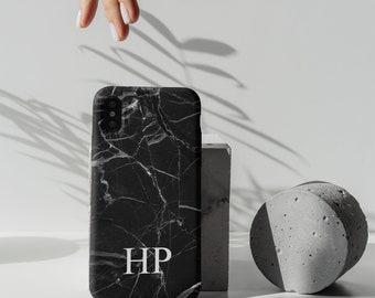 iPhone 8 Case - Black Marble Initial Custom - iPhone 8 Plus Case - iPhone X Cases - New Apple iPhone 8 Cases - Personalize iPhone - PC-2411