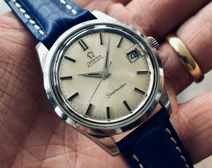 Omega Seamaster Stainless Steel Mens Vintage 1968 watch in nice condition + Omega strap + New Box
