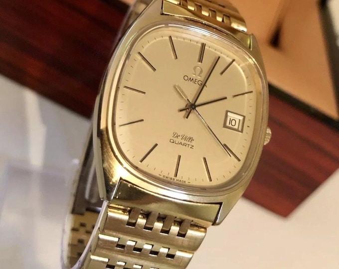 OMEGA Vintage 1980s Mens De Ville Gold Plated bracelet Quartz Gents Watch + Box