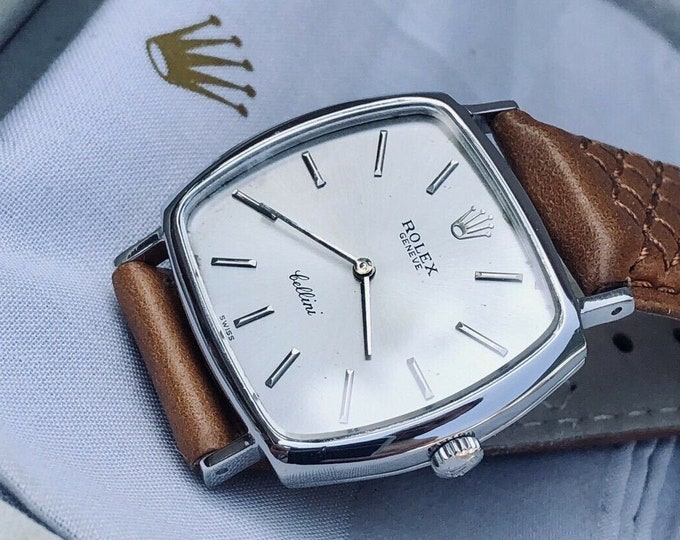 Rolex Cellini 3805 vintage Dress 18K Solid White Gold Mens unisex 32mm rare doctros watch