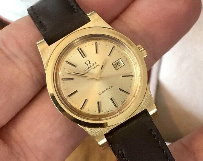 Omega lady Geneve Geneva Calibre 681 Automatic Gold Steel Date 1968 watch + Box