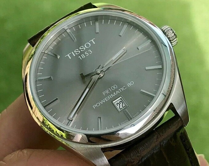 Tissot PR100 Powermatic 80 Automatic Grey Dial 100WR T101407 Sapphire Glass Brown leather + Box