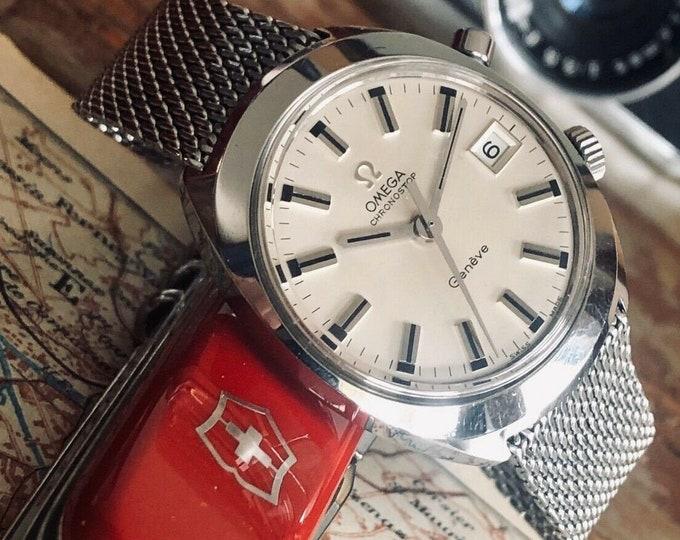 Omega Geneve Chronostop Mens Vintage Cal 920 1975 steel Milanese bracelet watch