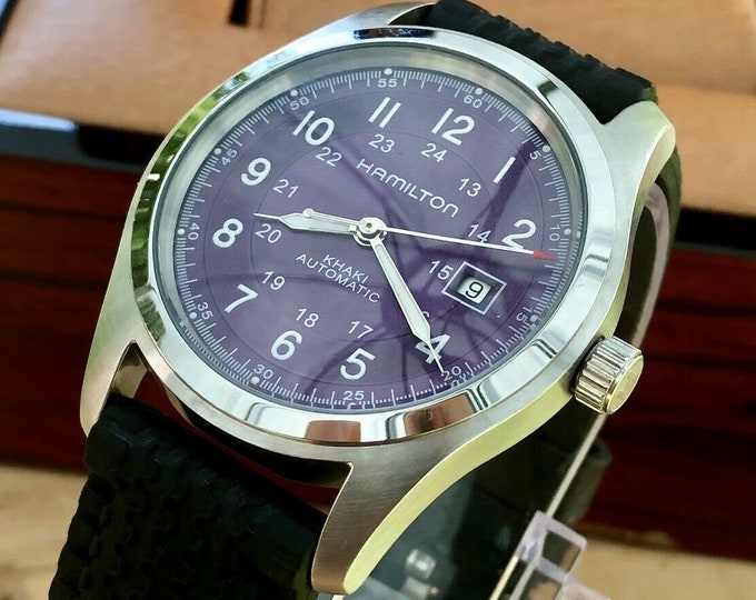 Hamilton H705450 Men's Khaki Purple Dial Black Rubber strap Automatic used Watch + Box
