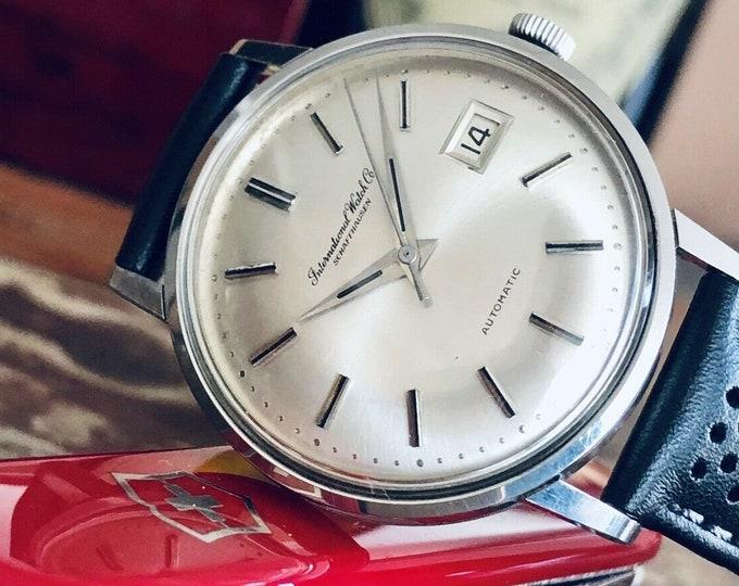 International Watch Company IWC Vintage Mens dress Automatic Caliber 8541B steel watch + box
