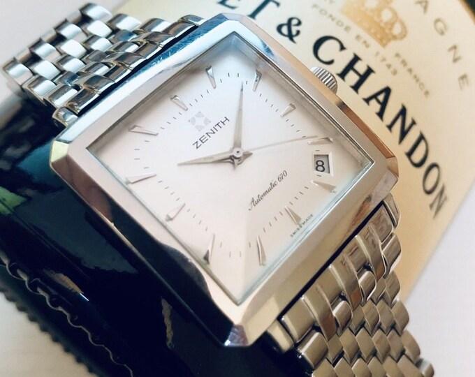 Zenith Elite Square automatic 670 Mens watch white dial steel bracelet Serviced Jan 2019 90-02-0100-670 JFK wristwatch clock