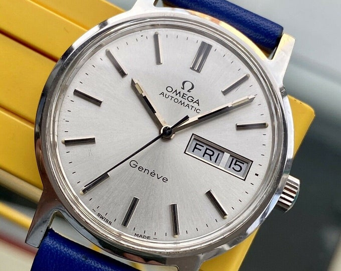 Omega 1973 vintage Geneve Steel Automatic Caliber 1022 Day Date leather Mens used watch + Box