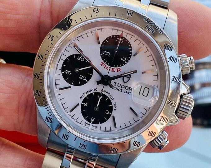 Tudor Tiger Woods Prince Date Full Set Rolex Daytona Panda Dial Mens 40mm paper steel Paul Newman Ref 79280 1999 watch