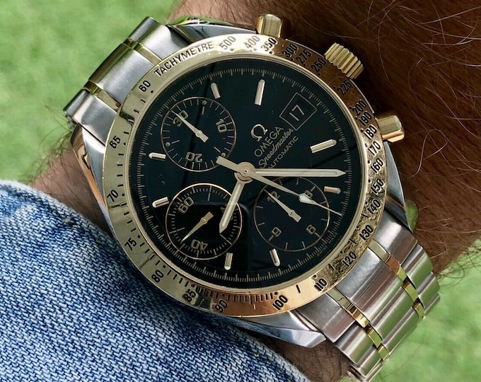 Omega 1999 Speedmaster Ref 3613 Men's 18K Gold reduced 39mm case Black Dial Automatic watch + Box
