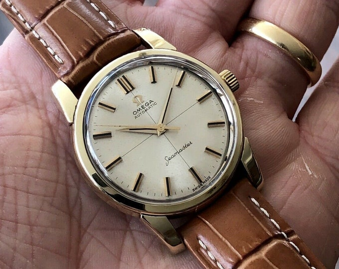 Omega Seamaster Vintage 1961 Crosshair Automatic 14K Gold Capped Calibre 552 Date Mens watch + Box