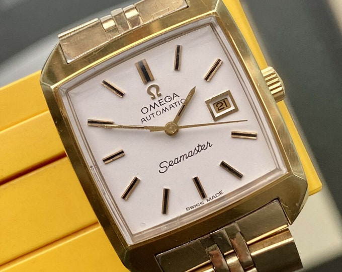 Omega Lady Seamaster Vintage Square Date Automatic Gold Plated Bracelet watch