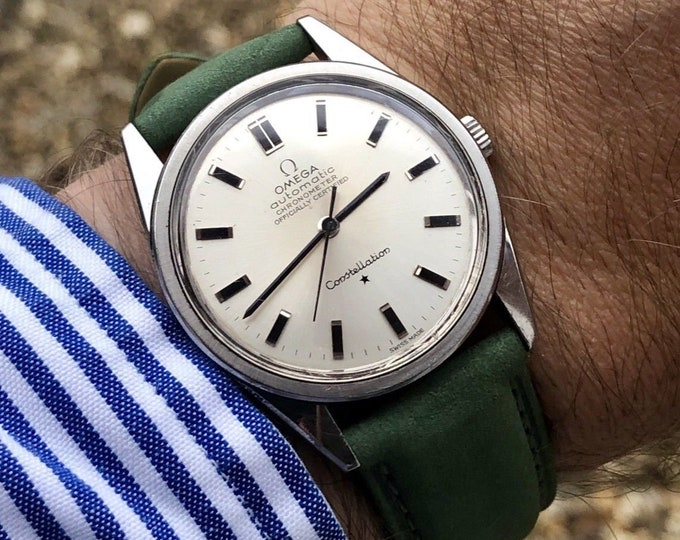 Omega vintage 1966 Constellation CAL 712 Chronometer Automatic Mens gents watch + kermit strap band Box