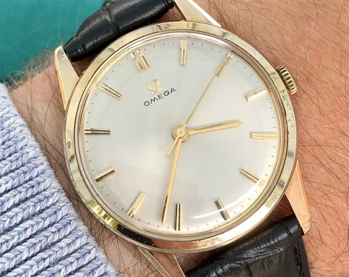 OMEGA 1959 Vintage Mens Gold 40 microns Classic mechanical cal 285 watch + Box