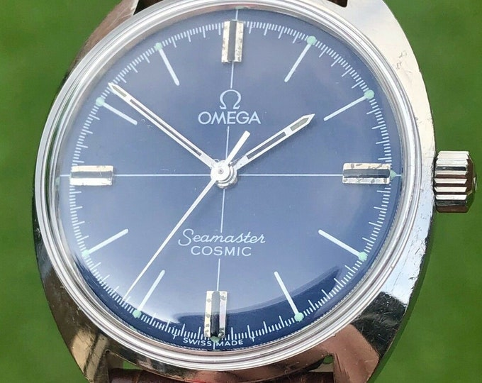 OMEGA Seamaster Mens vintage watch Mechanical Hand Winding Blue Dial + Box 1966 used second hand + New Box