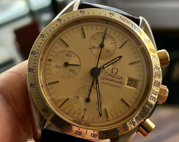 Omega Speedmaster 175.0032 18K Gold Steel Champagne Dial Men's Automatic Calibre 1155 watch + New Box