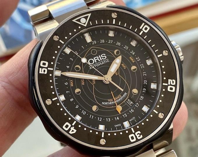 Oris Pro Diver 7682 Pointer Moon Tide Range Box Papers Mens Full Set 49mm Watch