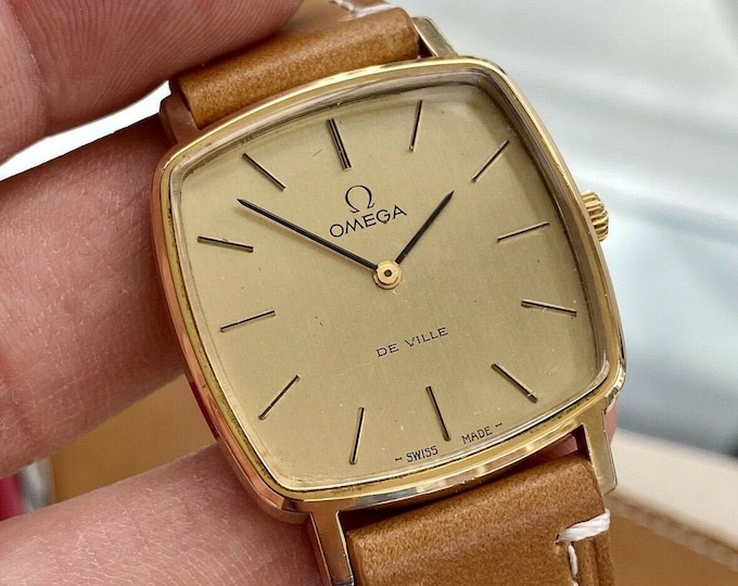 Omega Mens De Ville Mechanical Gold Plated Vintage Brown Leather watch serviced May 2021 watch