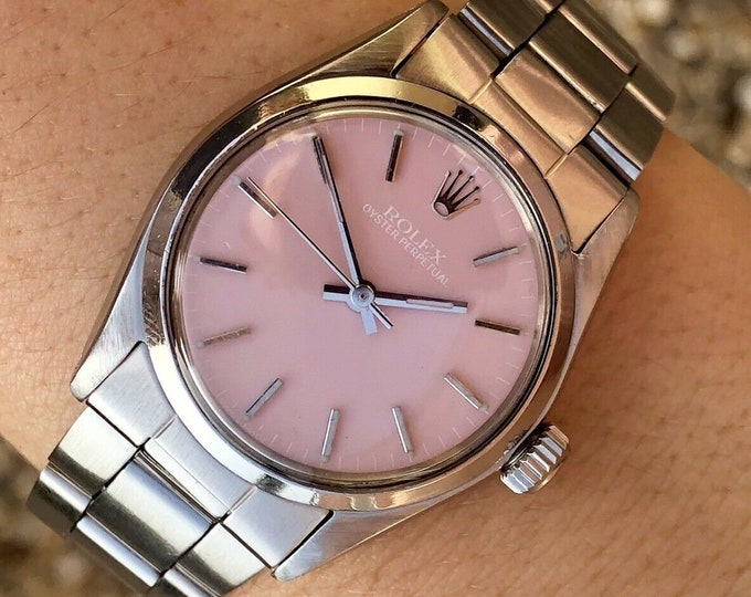 Rolex Oyster Perpetual vintage 1970s Automatic Pink Dial midsize 31mm watch + Box | Cal 1161 | Steel Bracelet | Ref 6549 | womens bracelet