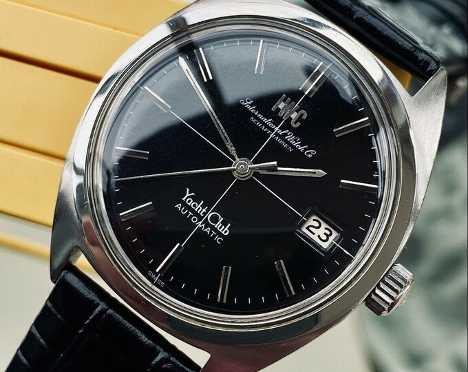 International Watch Company IWC Yacht Club Vintage Mens Black Dial Automatic serviced March 2021 watch + Travel Case