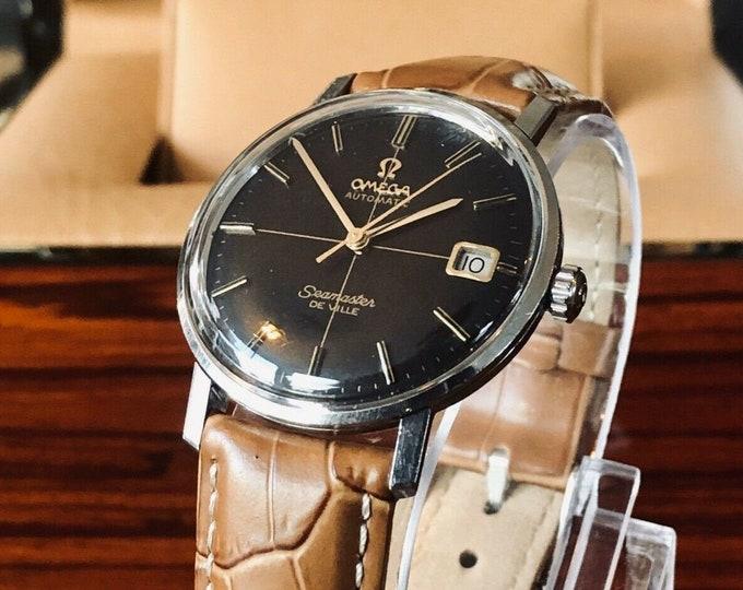 Omega Seamaster De Ville Automatic Crosshair black dial vintage mens watch + Box
