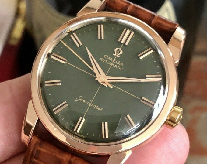Omega Seamaster 1959 Green Dial Face Crosshair Rose Gold Mens Vintage watch Serviced July 2020 watch + Box