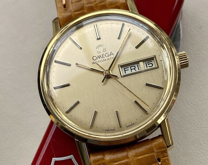 Omega Classic 1979 Gold Men Vintage Automatic Date Tan Brown 18mm Leather watch