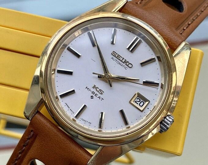 King Seiko Hi Beat mens Automatic Date Japan Gold Steel vintage 36mm KS watch serviced July 2021