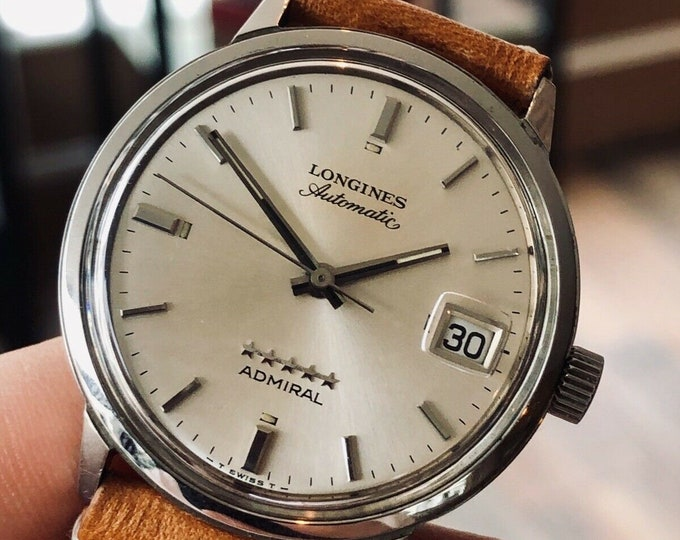 Longines Admiral used automatic second hand vintage Leather watch + Original Box