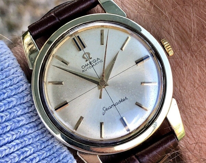 Omega Seamaster 1960 - 1969 vintage Mechanical Automatic Cal 552 mens Gold second hand watch + Red Omega box