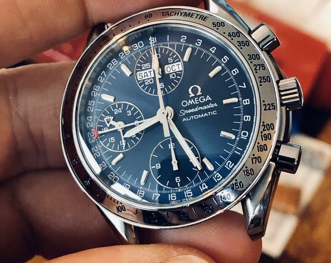 Omega Speedmaster Full Set Cards / Papers Navy Blue Dial Men's Automatic Triple date watch + Box + Nato