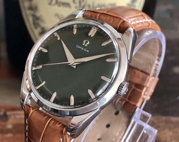 Omega Classic Green Dial Face Steel Mens Vintage 1958 serviced June 2020 watch