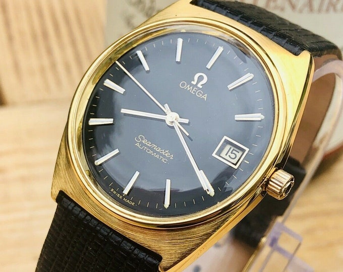 OMEGA Seamaster Gold Plated 20 microns black dial Calibre 1012 Date + New Box
