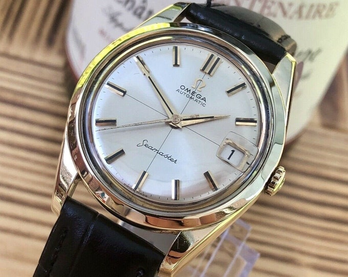 Omega Seamaster vintage watch cal 562 automatic 14K gold capped case 1961 Men's dress wristwatch + Original Box