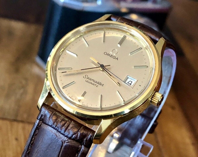 Omega Seamaster Vintage 1980 Quartz Battery Gold Plated Mens watch + Red Box